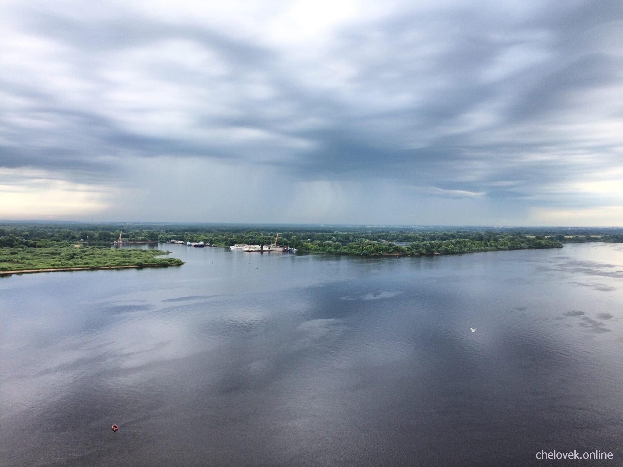 Волжские просторы. Вид на реку Волга у Борского (Волжского) моста